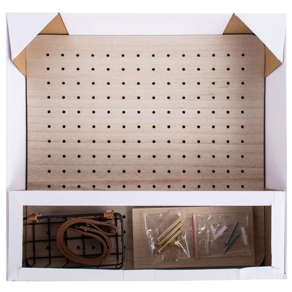 Pegboard en bois et accessoires - 40 x 40 cm - 11 pcs - Photo n°3