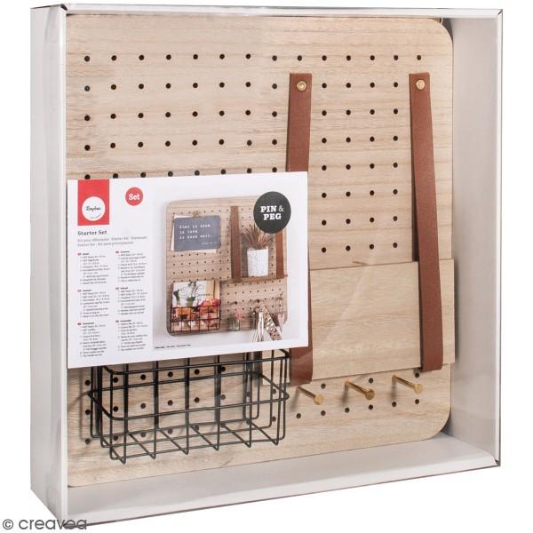 Pegboard en bois et accessoires - 40 x 40 cm - 11 pcs - Photo n°1
