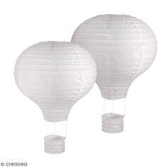 Lanterne en papier Montgolfière - Blanc - 23 cm