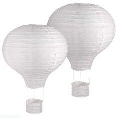 Lanterne en papier Montgolfière - Blanc - 40 cm