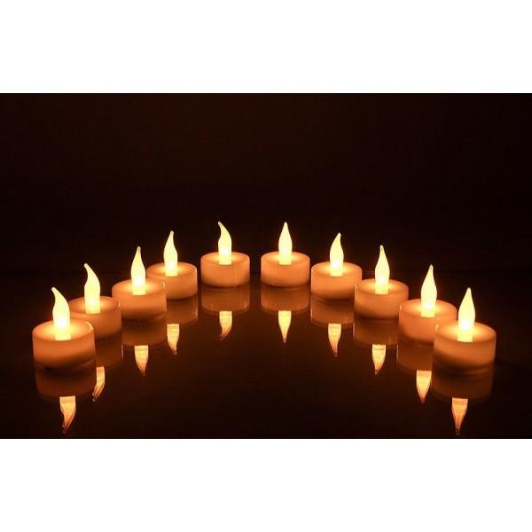 Lot de 10 Bougies chauffe-plat LED, lumière Jaune vacillante, h. 4,5 cm,  décoration de table - Photo n°3