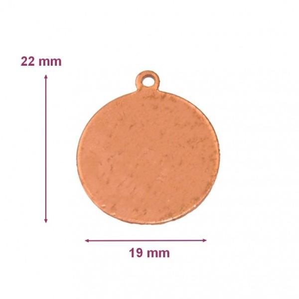 Pendentif en cuivre Rond avec 1 trou , 22x19 mm, ébauche pour émaillage à froid Efcolor - Photo n°1