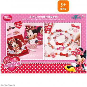 Kit créatif Minnie 2 en 1 - Bijoux brillants + Cartes pailletées