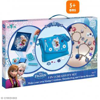 Kit créatif La reine des neiges 3 en 1 - Bracelets métal Sac et Tampons