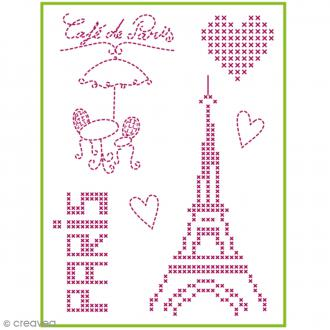 Feuille magique broderie Custom By Me - City - Café de Paris - A4