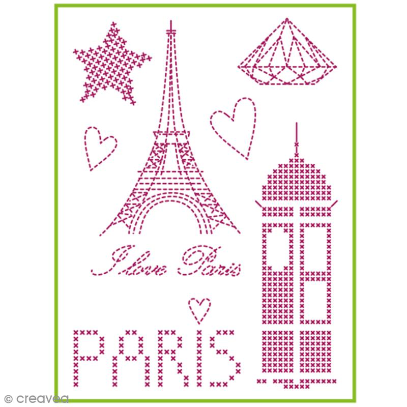 Feuille magique broderie Custom By Me - City - I love Paris - A4 - Photo n°1