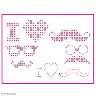 Feuille magique broderie Custom By Me - Fun - Moustaches - A4