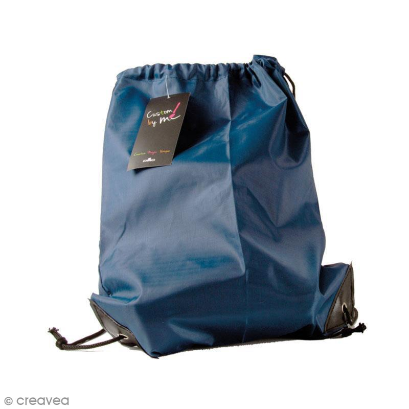 Sac de sport à customiser - Bleu marine - 35 x 43 cm - Photo n°1