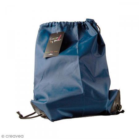 Sac de sport à customiser - Bleu marine - 35 x 43 cm - Photo n°1
