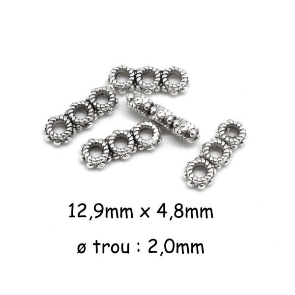 30 Perles Intercalaire 3 Trous En Métal Argenté, Séparateur Style Ethnique - Photo n°1