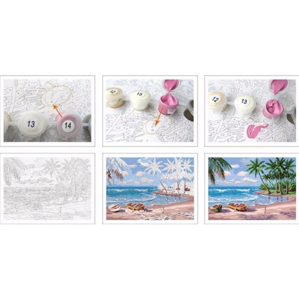 1pc Bohème Magie Blanche Licorne Fleurs Animal Acrylique Bricolage Peinture Par Numéro de Hobby Kit, - Photo n°2