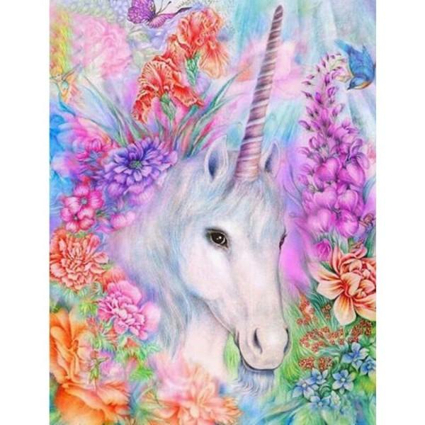 1pc Bohème Magie Blanche Licorne Fleurs Animal Acrylique Bricolage Peinture Par Numéro de Hobby Kit, - Photo n°1