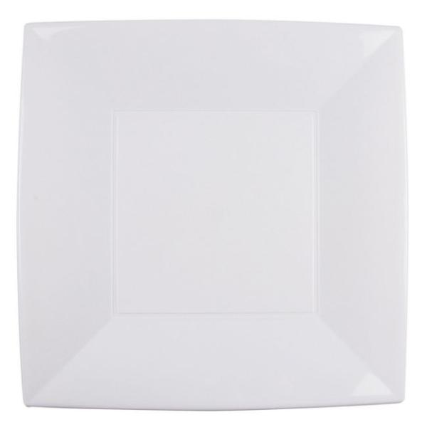 8 Grandes assiettes carrées 30 cm blanches PVC rigide - Photo n°1