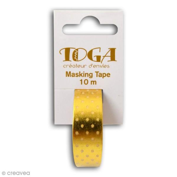 Masking tape Toga - Pois blancs sur fond doré - 10 mètres - Photo n°2