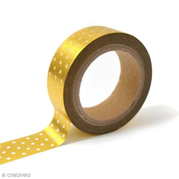 Masking tape Toga - Pois blancs sur fond doré - 10 mètres - Photo n°1