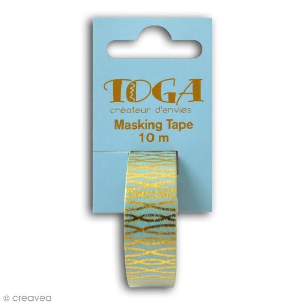 Masking tape Toga - Fils or sur fond Bleu - 10 mètres - Photo n°2