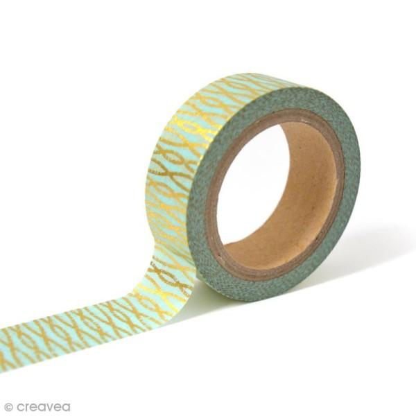 Masking tape Toga - Fils or sur fond Bleu - 10 mètres - Photo n°1