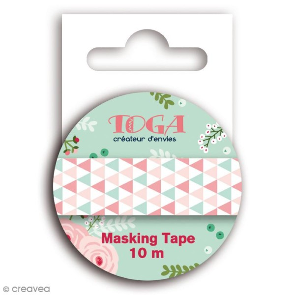 Masking tape Toga - Lovely flowers - Triangles verts roses et blancs - 10 mètres - Photo n°1