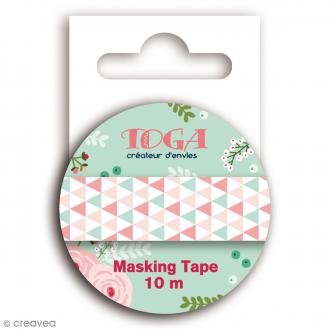 Masking tape Toga - Lovely flowers - Triangles verts roses et blancs - 10 mètres