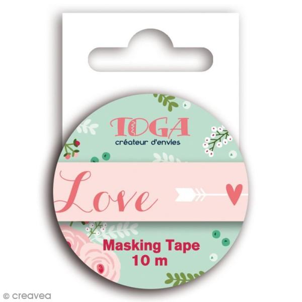 Masking tape Toga - Lovely flowers - Mot love rose et blanc - 10 mètres - Photo n°1
