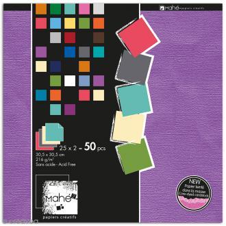 Papier scrapbooking Mahé uni 30,5 x 30,5 cm - 50 feuilles - Nuances douces