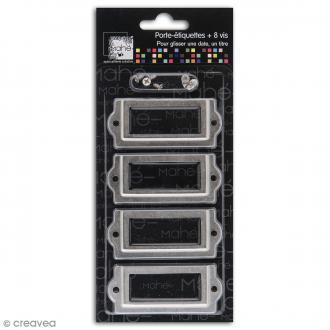 Porte-étiquette scrapbooking 7 x 3 cm - Métal gris - 4 cadres + 8 vis