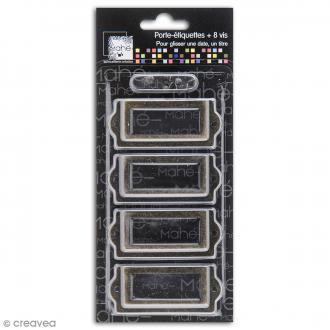 Porte-étiquette scrapbooking 7 x 3 cm - Métal vintage - 4 cadres + 8 vis