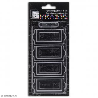 Porte-étiquette scrapbooking 7 x 3 cm - Métal noir - 4 cadres + 8 vis