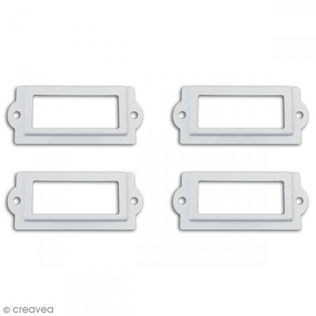 Porte-étiquette scrapbooking 7 x 3 cm - Métal blanc - 4 cadres + 8 vis - Photo n°2