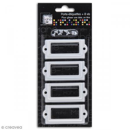 Porte-étiquette scrapbooking 7 x 3 cm - Métal blanc - 4 cadres + 8 vis - Photo n°1