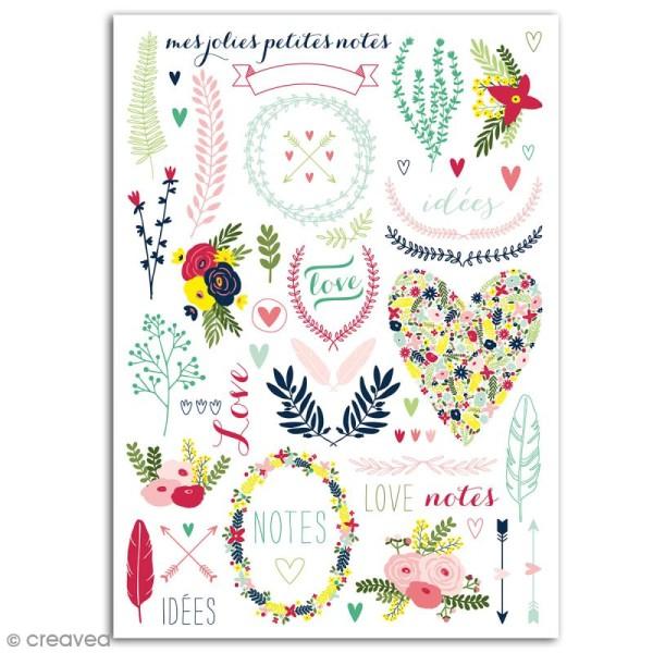 Rub-ons Transferts Lovely flowers - Motifs en couleurs - 1 planche 15 x 21 cm - Photo n°2