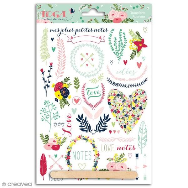 Rub-ons Transferts Lovely flowers - Motifs en couleurs - 1 planche 15 x 21 cm - Photo n°1