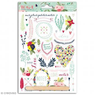 Rub-ons Transferts Lovely flowers - Motifs en couleurs - 1 planche 15 x 21 cm