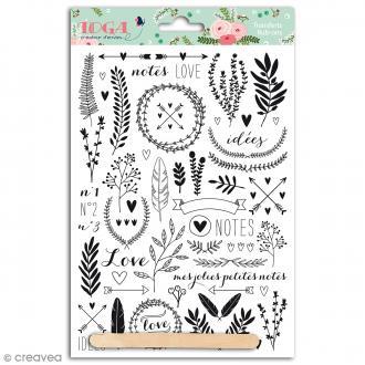 Rub-ons Transferts Lovely flowers - Motifs noirs - 1 planche 15 x 21 cm