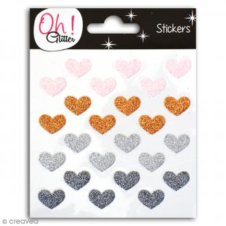 Stickers Oh ! Glitter - Coeurs pailletés - Rose, cuivre, argenté, gris - 24 autocollants