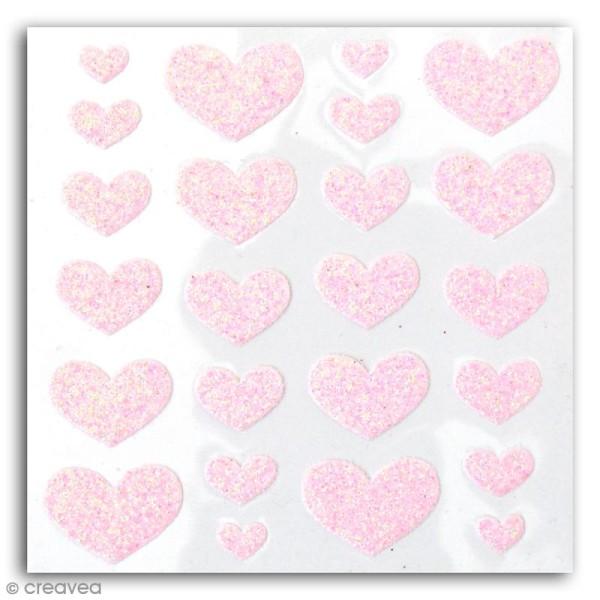 Stickers Oh ! Glitter - Coeurs pailletés - Rose clair - 24 autocollants - Photo n°2
