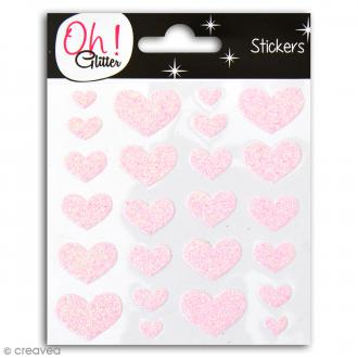 Stickers Oh ! Glitter - Coeurs pailletés - Rose clair - 24 autocollants