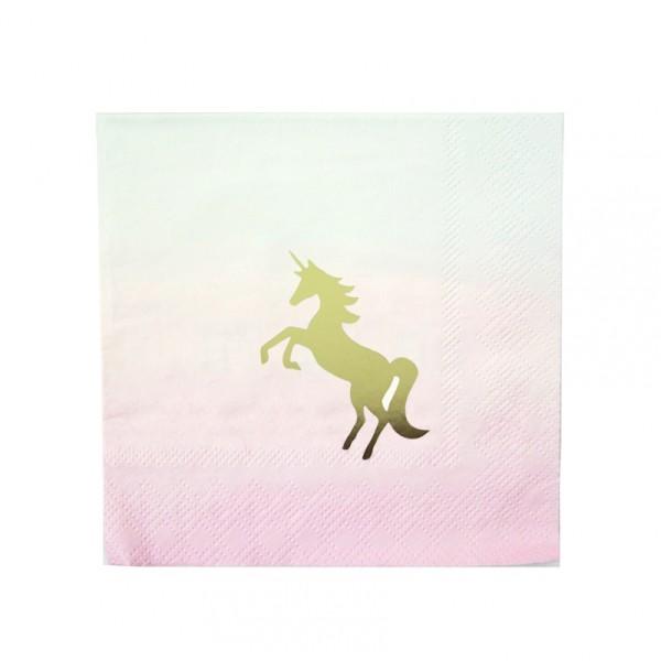 Serviettes papier pastel licorne or - Photo n°2