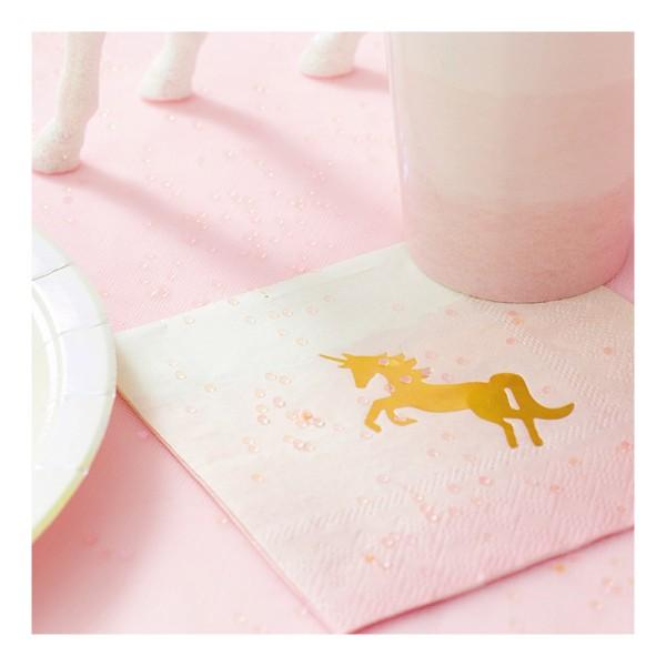 Serviettes papier pastel licorne or - Photo n°1