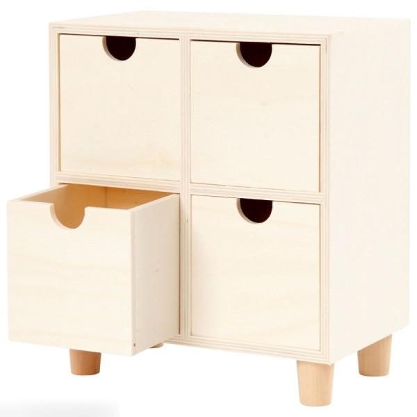 Commode en bois brut non traité - 4 tiroirs - 23 x 20 x 11,5 cm - Photo n°3