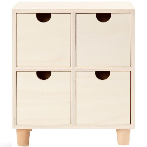 Commode en bois brut non traité - 4 tiroirs - 23 x 20 x 11,5 cm - Photo n°1