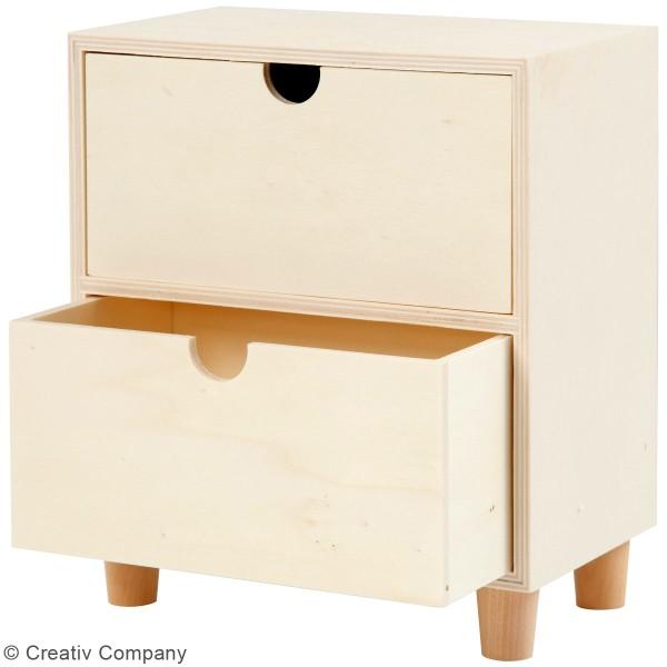 Commode en bois brut non traité - 2 tiroirs - 23 x 20 x 11,5 cm - Photo n°2