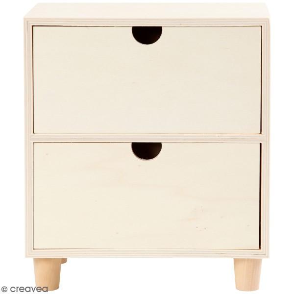 Commode en bois brut non traité - 2 tiroirs - 23 x 20 x 11,5 cm - Photo n°1