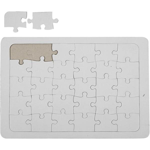 Puzzles à décorer, A4 21x30 cm, 10 pièces, blanc - Photo n°1
