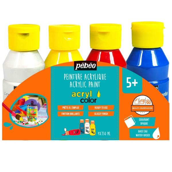 Assortiment Peinture Acrylcolor - Classique - 150 ml - 4 pcs - Photo n°1