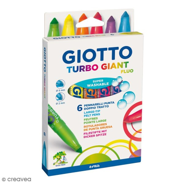 Feutres Turbo Giant Giotto - Fluo - 6 pcs - Photo n°1