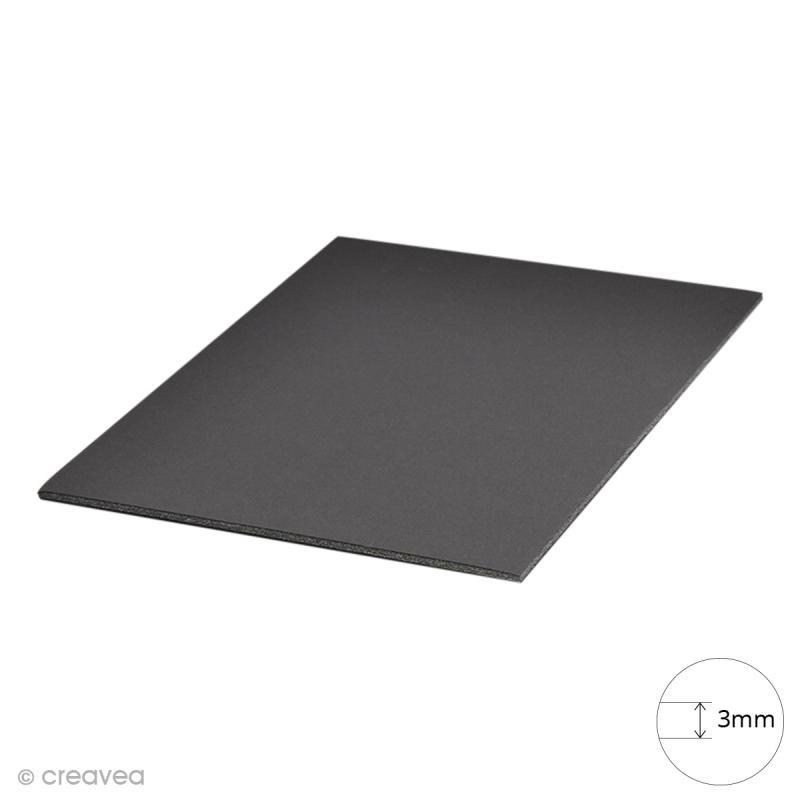 carton plume a4 noir 3 mm 1 planche carton plume creavea. Black Bedroom Furniture Sets. Home Design Ideas