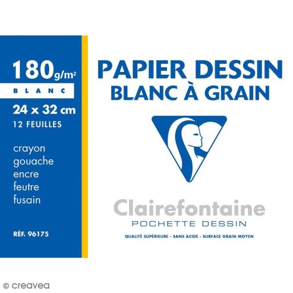 Papier dessin à grain 24 x 32 cm - 180 gr - Pochette de 12 feuilles - Photo n°1
