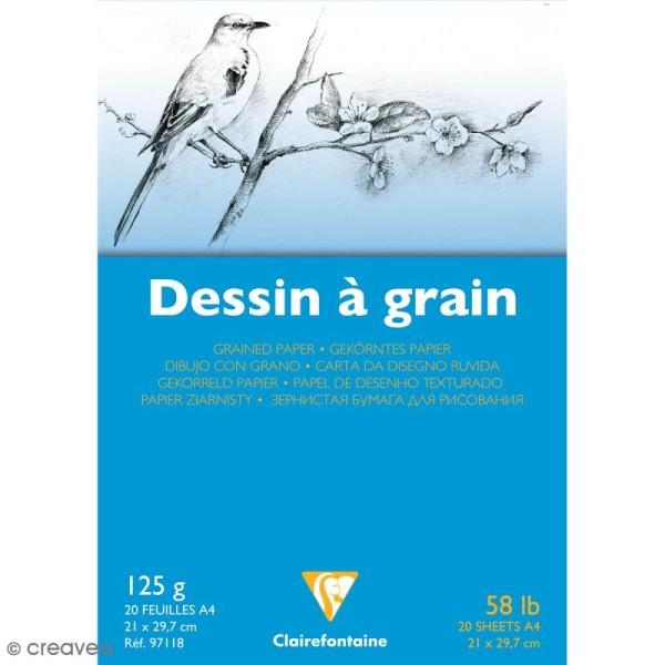 Bloc papier dessin à grain A4 - 125 gr - 20 feuilles - Photo n°1