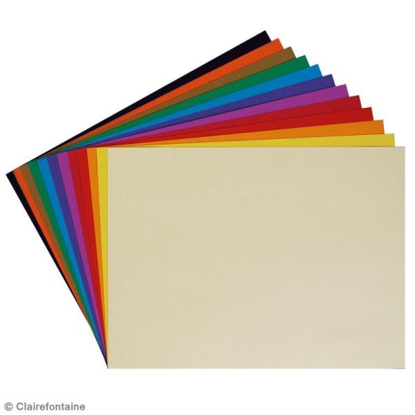 Papier dessin à grain 24 x 32 cm - 160 gr - Couleurs vives - 12 feuilles - Photo n°2